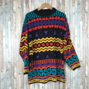 Vintage L XL 90s Colorful Textured Knit Sweater